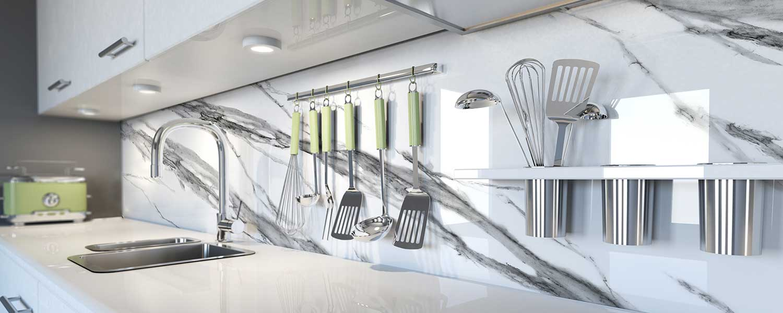 encimera calacata vidrio - salpicadero calacata vidrio - ipresion digital vidrio