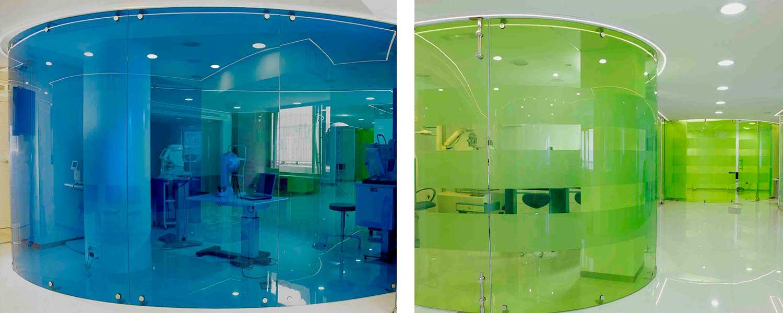 vidrio curvado cilindrico colores