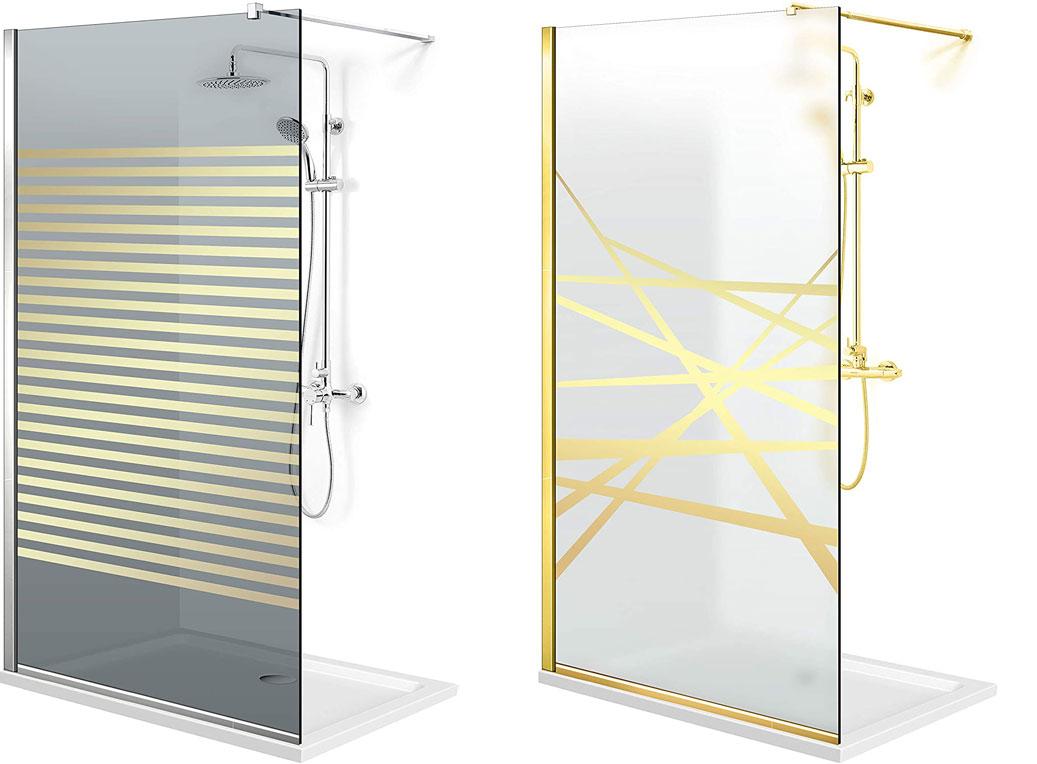vidrios mampara de ducha en oro