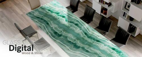 mesa vidrio piedra impresion digital - verde malaquita